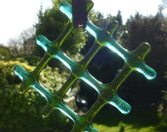 Green Fused Glass Suncatcher.  Lattice  Green  and Teal Suncatcher.  Green Lightcatcher.  Glass Suncatcher