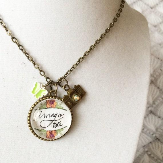 "24"" Charm Necklace * Hand-lettered & Illustrated Imago Dei Pendant * Catholic Christian Jewelry"