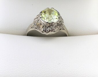 Awesome Rare Art Deco Greenish Sapphire 14 Kt White Gold Intricate Setting Ring