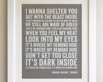 FRAMED Lyrics Print - Imagine Dragons, Demons - 20 Colours options, Black/White Frame, Wedding, Anniversary, Valentines, Fab Picture Gift