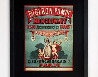 "LARGE 20""x16"" FRAMED Advertising Print, Black or White Frame/Mount, Vintage French Poster"