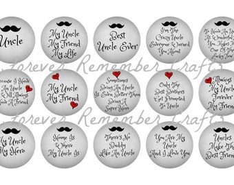 INSTANT DOWNLOAD Uncle Quotes & Sayings  1 Inch Bottle Cap Image Sheets *Digital Image* 4x6 Sheet With 15 Images
