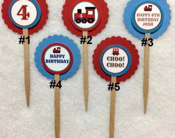 Set Of 12 Personalized Train Choo Choo 4th Birthday Party  Cupcake Toppers (Your Choice Of Any 12)
