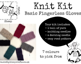 Knit Kit - Chunky Fingerless Gloves - Choice of Colours