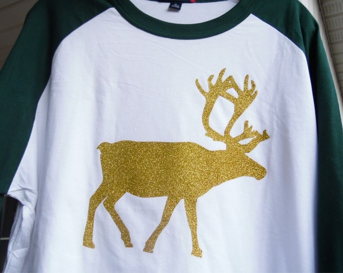 GLITTER REINDEER RAGLAN, Whole Body side, 3/4 sleeve baseball style t-shirt, Multiple Glitter Colors, Children's sizes YXS4-Adult 6X. ch