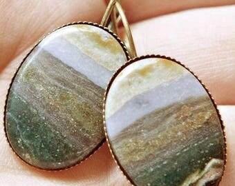 "Vintage Handmade Ocean Jasper Seascape Antique Solid Brass Earrings 1 3/8"""