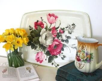 Vintage shabby chic keswick floral rose print fibre glass tray