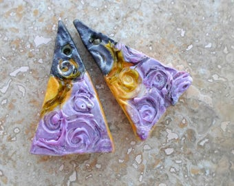Ceramic Triangle Beads,Glass Swirls Textured Beads,Handmade Jewelry Supplies,Spring Fashion, Earring Components,Rustic Boho Pendant Charms