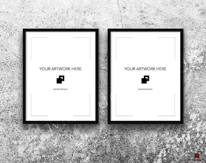 11x14 FRAME MOCKUP BLACK Set of 2 / Poster Mockup, old white stone wall Background, Framed Art, Instant Download / Frame Mockup