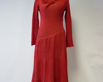 Casual red linen long dress, M size.
