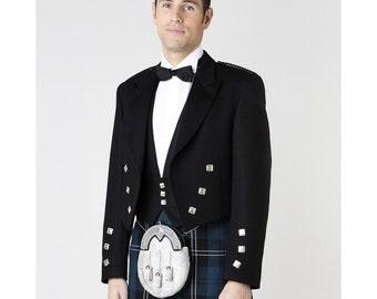 Prince Charlie Jacket Coat With 3 Button Vest NEW Scottish Victorian KILT Dress