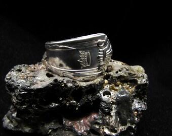 Men's spoon ring. 'Crown' vintage silverplate spoon. St. Louis Club spoon ring
