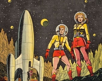 The moon landings were never like this. Art print from pulp magazine cover art
