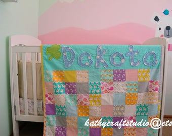 Customized baby flannel quilt/ personalized modern handmade kid quilt/ all size available