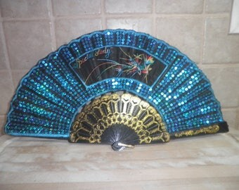 Vintage sequenced Special Lady decorative fan