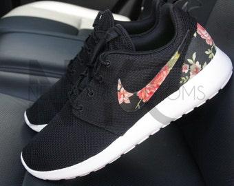 86eef7e91069a ... best price nike roshe run black rose floral custom men womens . 41e35  cf557
