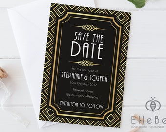 Art Deco Save The Date Card // Art Deco Save The Date // 1920's Wedding // Black & Gold Save The Date // Earl's Court Collection // Elle Bee