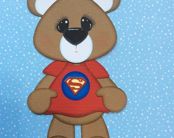 Teddy Bear wearing superman inspired shirt scrapbook paper piecing embellishment