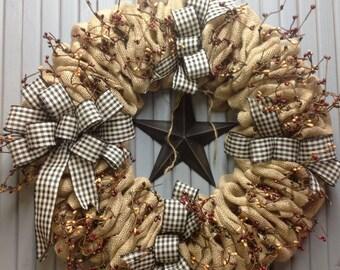 Black Homespun Burlap Wreath/burlap wreath/burlap and berries/primitive decortive/farmhouse/country wreath/country decor/black