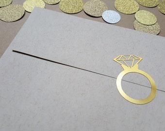 Ring Stickers, Gold Rings, Diamond Rings, Diamond Ring Stickers, Ring Envelope Seals, Wedding Stickers, Gold Foil Stickers, Wedding Seals