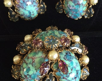 Vintage Schreiner N.Y Brooch & Earrings Set~Blue Art Glass/Pearls/Rhinestones/Gold-tone