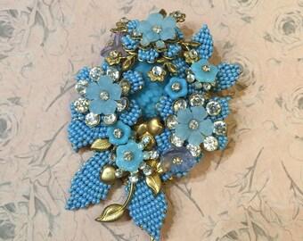 Vintage Stanley Hagler Brooch Blue Flowers