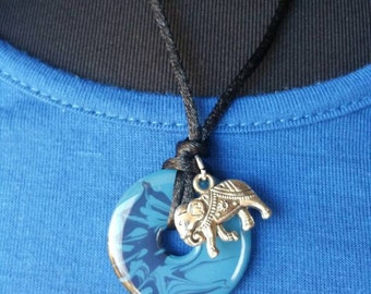Handpainted Washer Necklace with Elephant Charm
