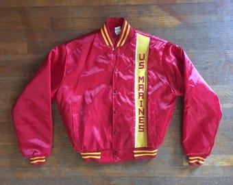 Vintage 1980s US MARINES Red Satin Nylon Jacket Size Large Starter Army Military USMC