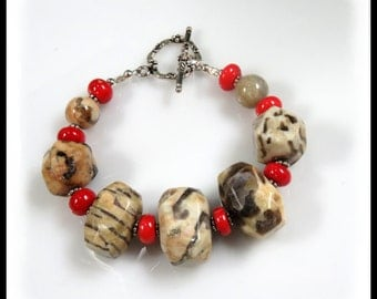Fieldpath graphic and red coral, Tan and Gray Jewelry, Chunky Bracelets, Antique Silver Toggle, Gray and Red Jewelry