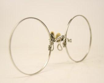 Antique Silver Hard Bridge Pince Nez Eyeglasses