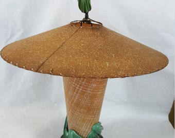 1940s dramatic ceramic and fiberglass lamp waves and flames