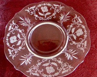 Fostoria Baroque Etched Dessert Plate, Shirley Pattern Dessert Plate, 7in Clear Glass Salad Plate, Replacement Plate, Table Decor
