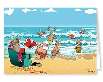 Beach Theme Christmas Card - 18 Cards & Envelopes - 30044a