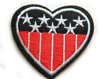 Embroidered Americana Heart Appliqué