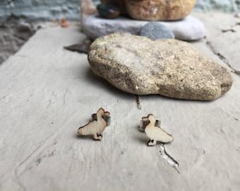 Duck Wooden Post Stud Earrings