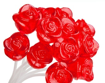 120 Rose Lollipops Handmade Gourmet Candy for Party Favors Valentines