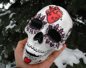 One Of A Kind Present Handmade Tattoo Comix Cartoon Heart Flower Tunnels Lady Dead Doll Hero Day Of The Dead Ceramic  Mexican Sugar Skull