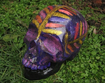 FREE SHIPPING One Of A Kind Present Handmade Violet Indian Feather Abstract Lilla Day Of The Dead Ceramic Mexican Sugar Skull