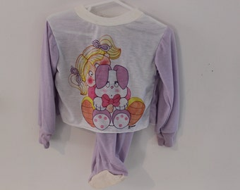 Vintage toddler pajamas girl 24 months, 2t pajamas Easter bunny purple footed pants, shirt screen print