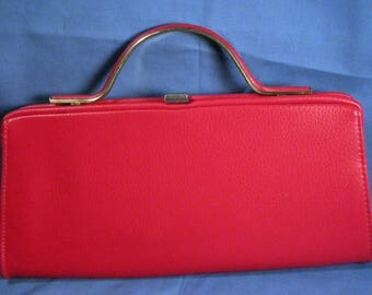 Vintage Red Vinyl Clutch Purse with swing out handle