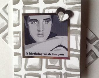 ELVIS PRESLEY handmade Birthday card American singer, actor Grey white themed Happy Birthday Thanks Best friend Card matching envelope