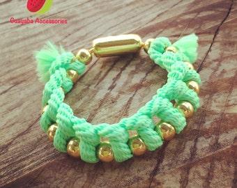 Light green Bracelet. Green military bracelet. Free shipping to USA