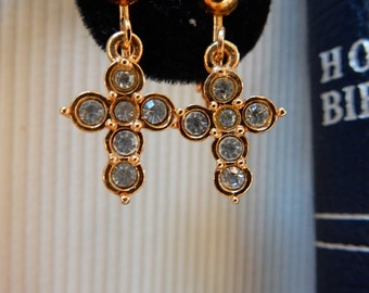 Gold Tone Cross Clip Earrings