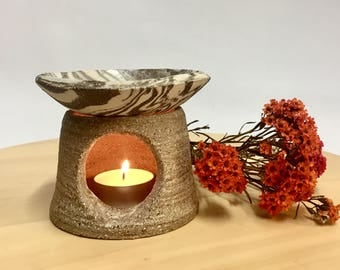 Handmade Marbled Stoneware Oil Burner