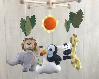 Baby mobile - jungle mobile - safari mobile - giraffe - toucan - elephant - zebra - lion - baby mobiles - palm leaves - jungle nursery decor