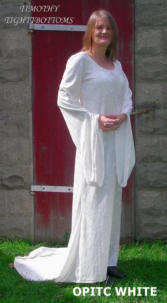 Crushed Panne Velvet Renaissance Maiden Dress In Optic White