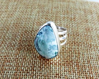 Mystic Sage Turquoise Sterling Ring   (Size 7.5)