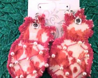 Pineapple fabric earrings