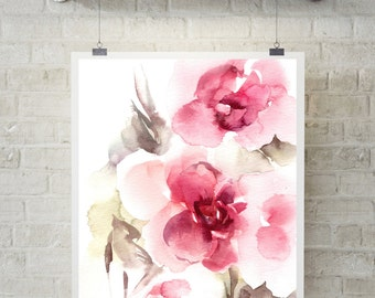 Abstract Pink Florals Fine Art Print, watercolor painting print, floral wall art, modern home decor, watercolor painting of florals