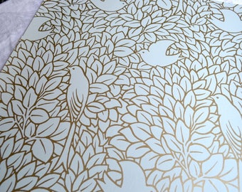 Wallpaper - Cole and Son  Sample Sheet  - 19 x 17  Dovedale Birds - Gold and Light Blue